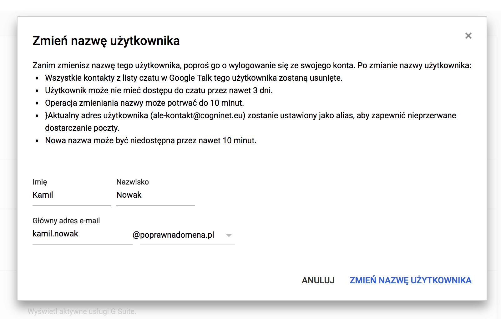 Zmiana nazwy użytkownika