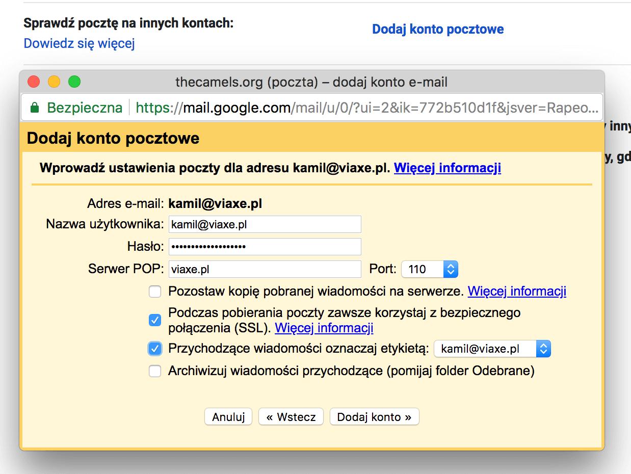 Ustawienia pobierania poczty poprzez Gmail.