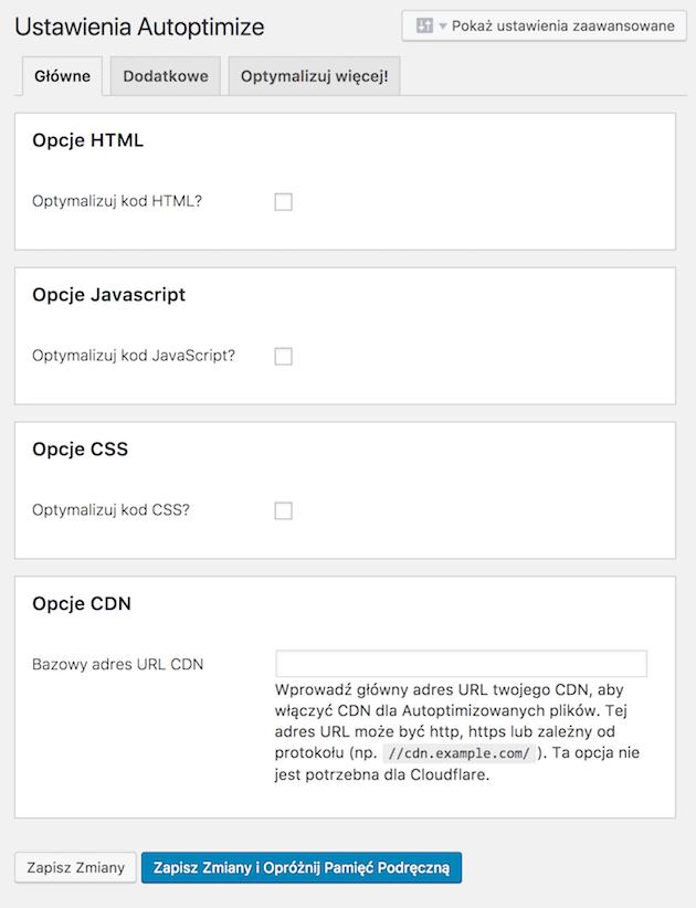 Autoptimize plugin options.