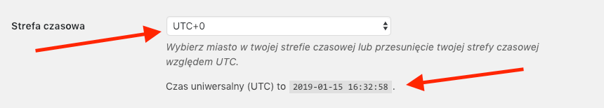 Check the time zone used on the page. If you are using a server located outside of Poland